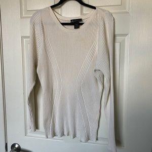 LANE BRYANT cream ribbed oversized long sweater